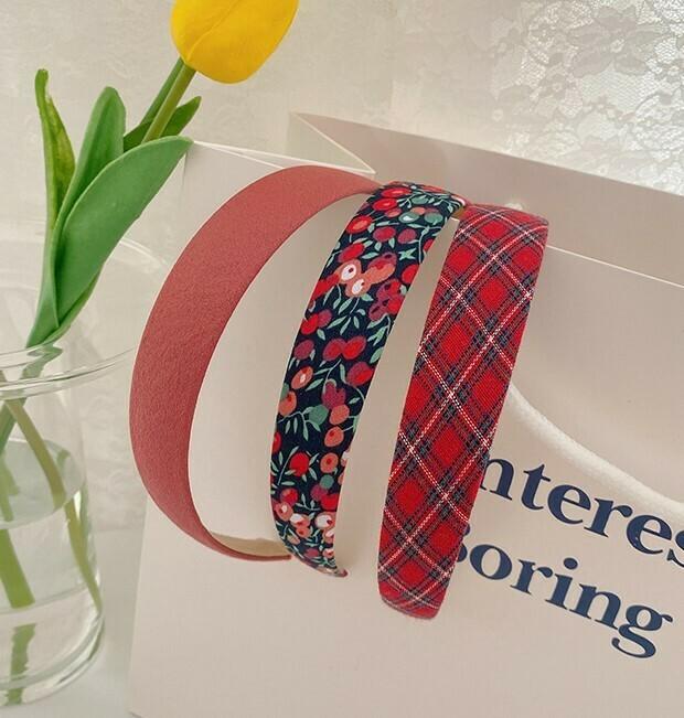 3-pack plain & printed cotton headband
