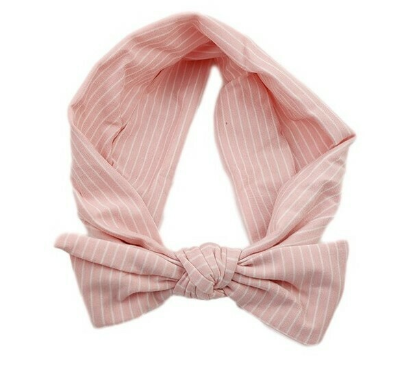 White striped pink stretchy headband with bow