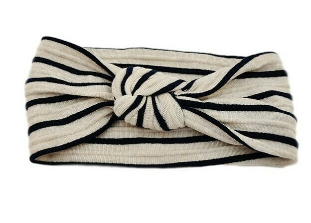Striped knot front knitted fabric head wrap