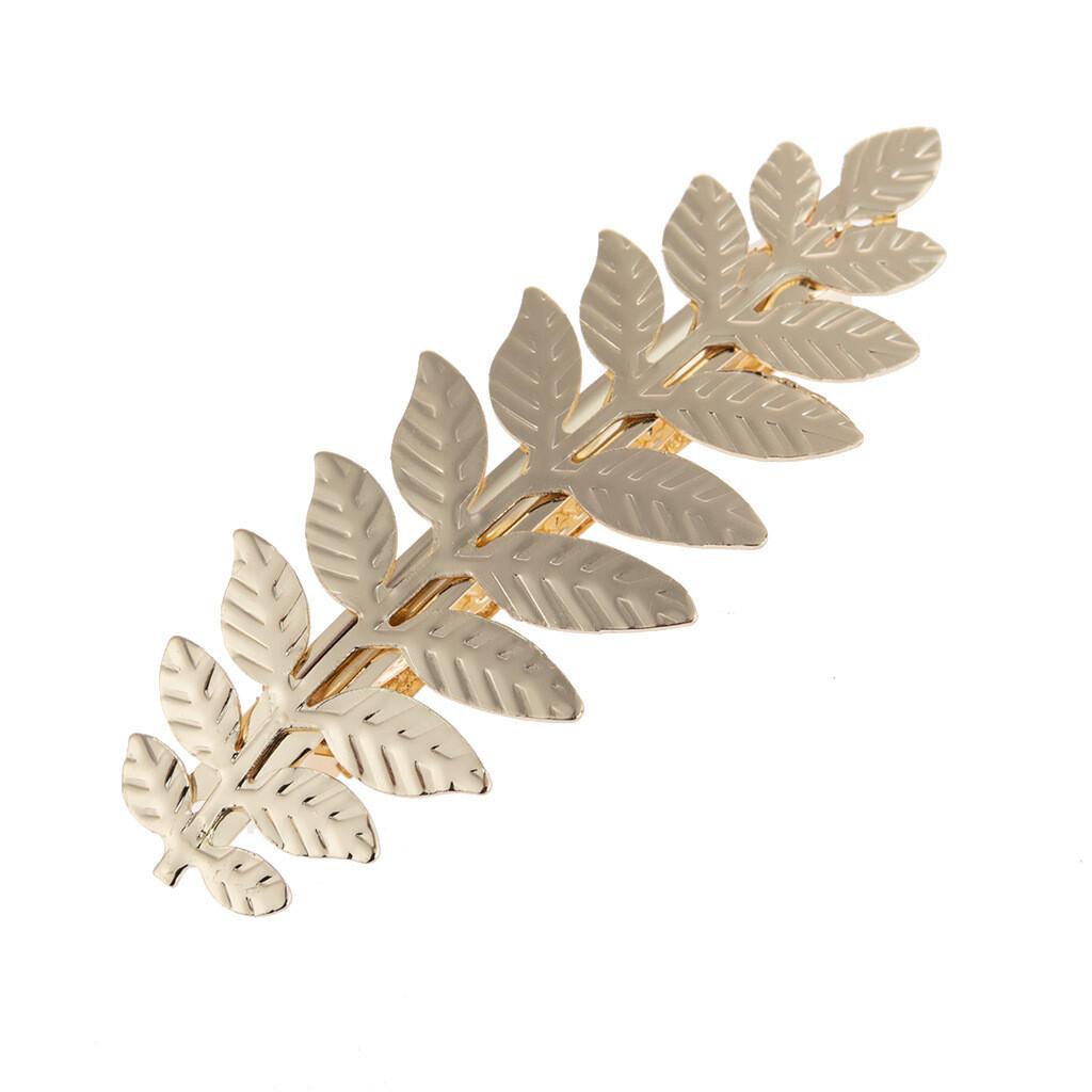 Metallic leaf branch hair barrette