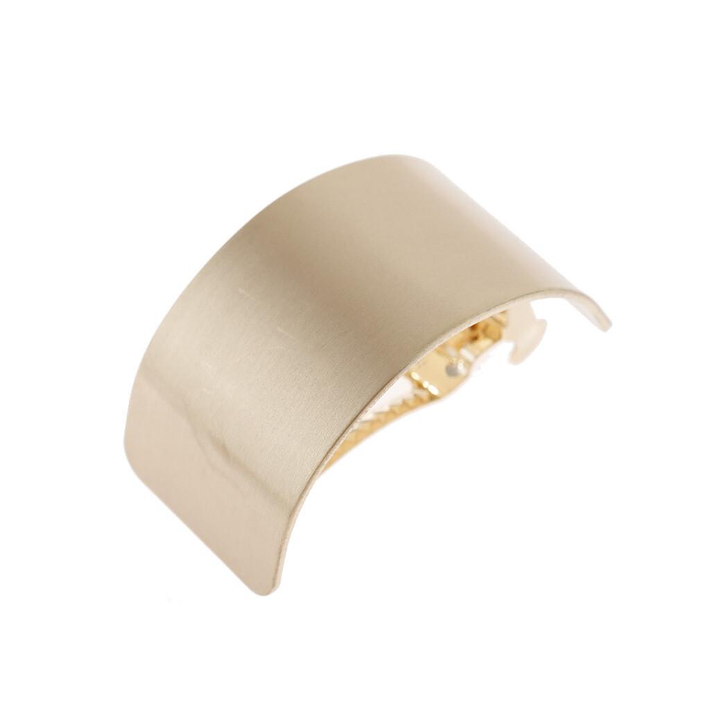 Semi round hair barrette in matte metal