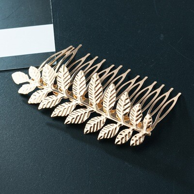 Metallic leaf branch hair comb