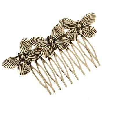 Triple butterflies hair comb