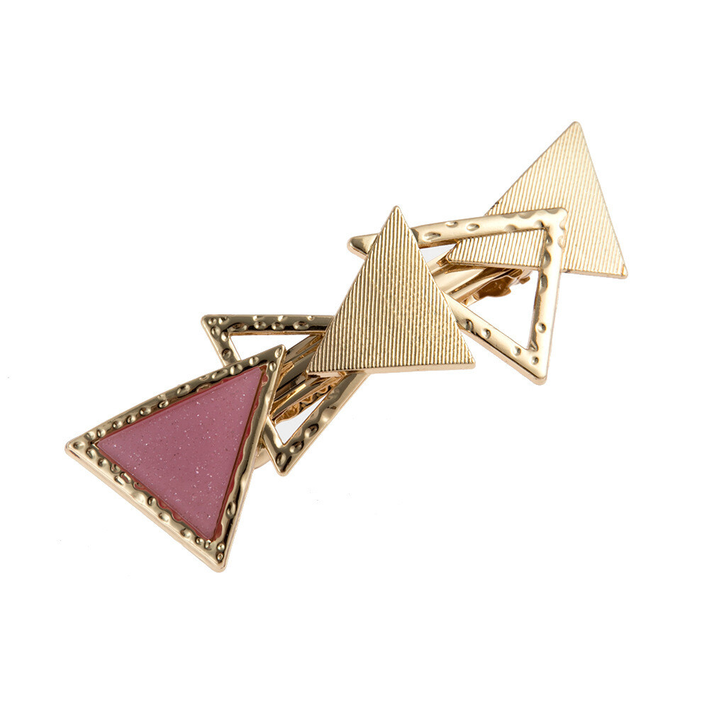 Glitter pink multi-layer triangles metallic hair barrette
