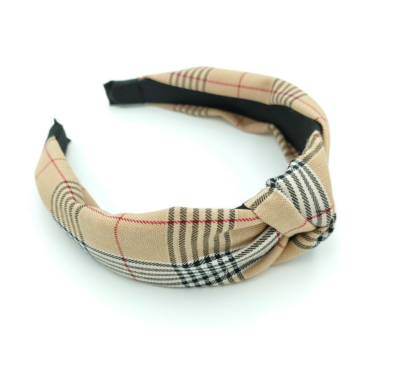 Scotch plaids knotted headband in beige