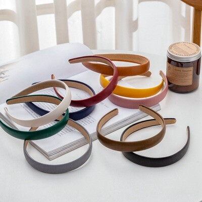 2cm wide plain colours leather headband