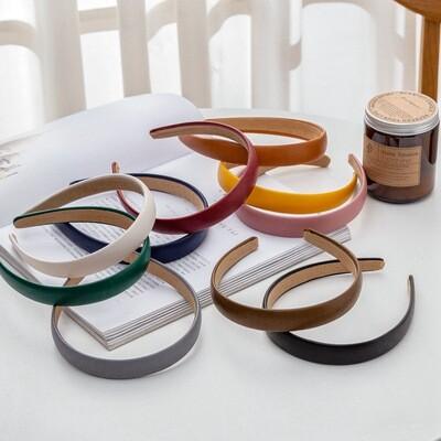 2cm wide plain colours leather headband