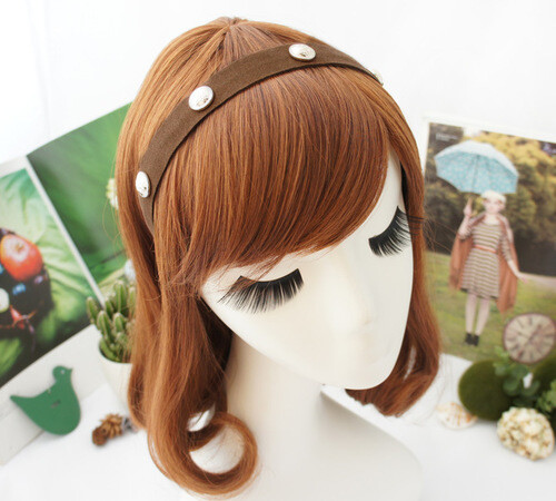 Suede silver/round rivets headband