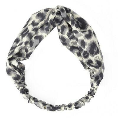 Leopard prints elastic chiffon turban headband