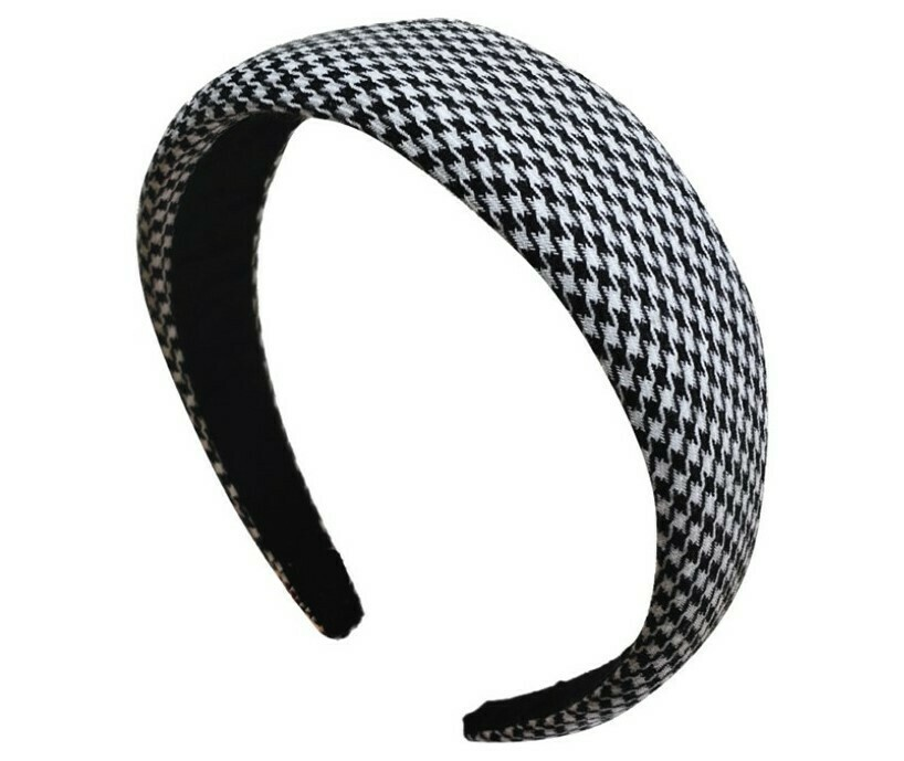 4cm-wide thinly padded hounds tooth headband