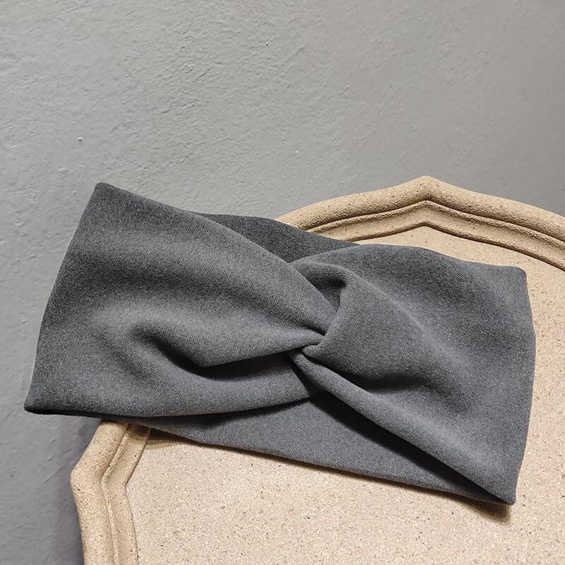 Twist front plain coral velvet headband