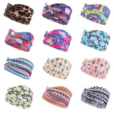 Thin twist front stretchy headband in assorted printings