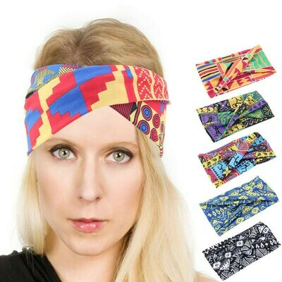Crossing front stretchy headband in assorted printings