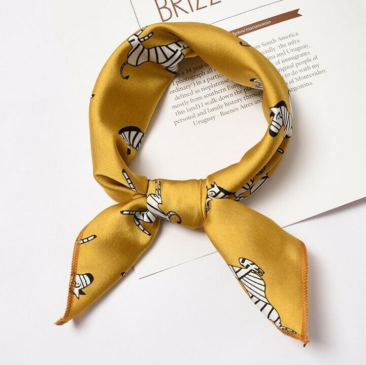Zebra patterned golden head scarf / Neck scarf