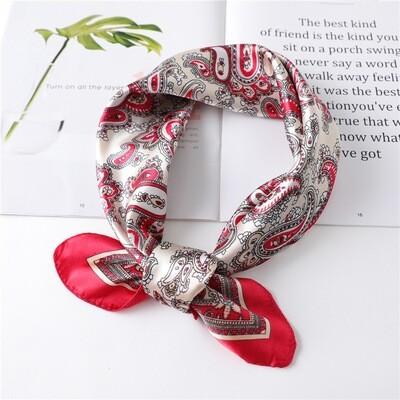 Amoeba patterned satin bandanna scarf