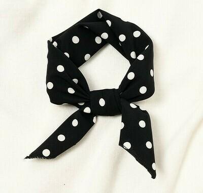 Polka dots chiffon head scarf / Neck scarf