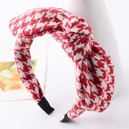Houndstooth headband with bow