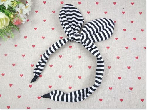 Striped velvet headband with bow