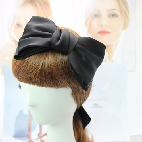 Premium satin large bow headband