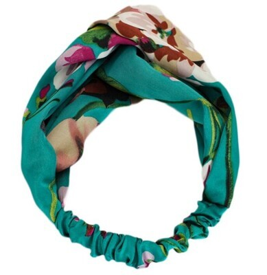 Twist front floral satin elastic headband-thin