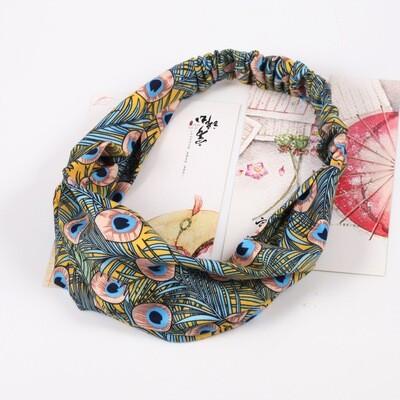 Multi-coloured peacock bandanna headband