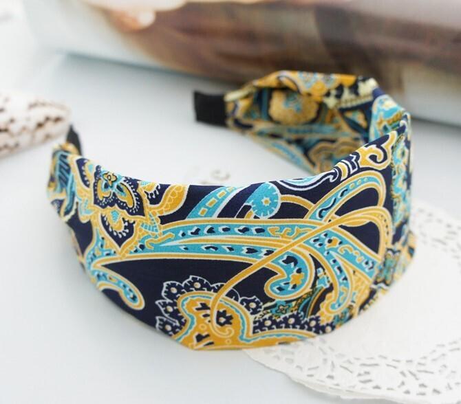 Bohemian blue chiffon wide headband
