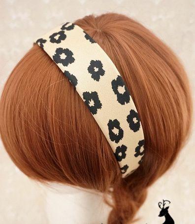 Printed flowers wide headband