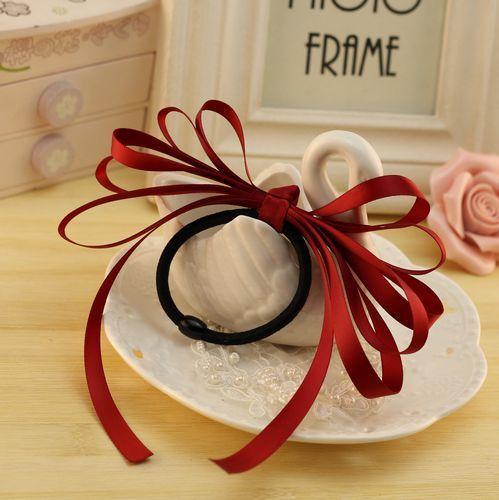 Multi-layered satin ribbon bow hair tie