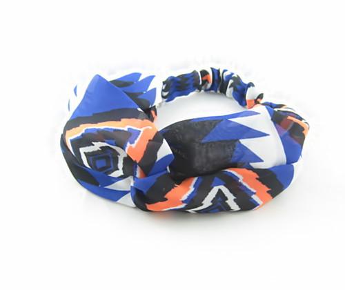 Twist front blue orange chiffon elastic headband