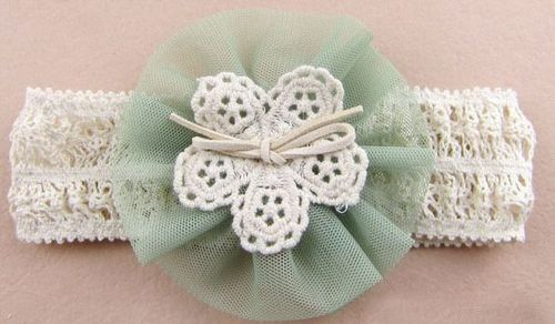 Organza large flower lace stretch headband