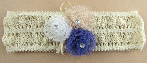 Small flowers lace stretch headband