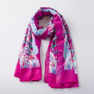 Fushcia floral long scarf