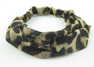 Twist front leopard chiffon elastic headband