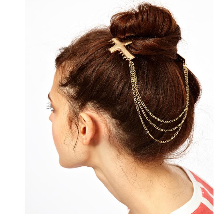 Shiny cross double hair comb