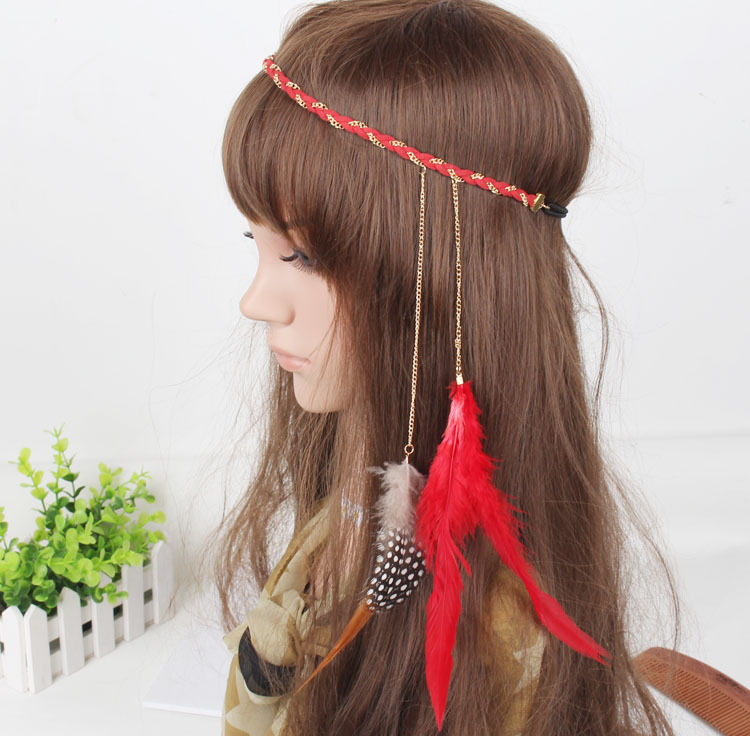 Gold chain feather elastic headband