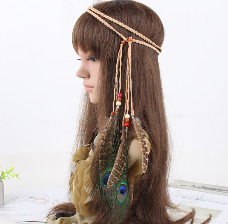 Brown + peacock feather tie