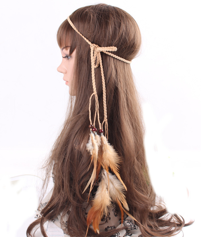 Braided suede brown feather tie