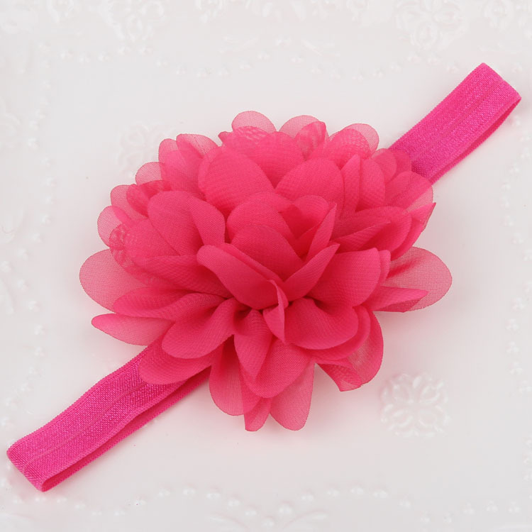 Chiffon large flower elastic headband