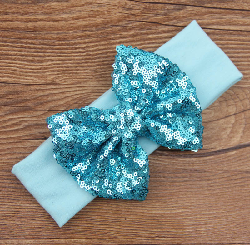 Glitter bow cotton headband