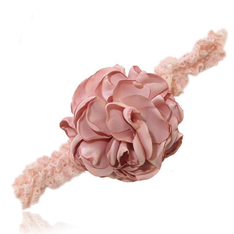 Satin pompom bow lace headband
