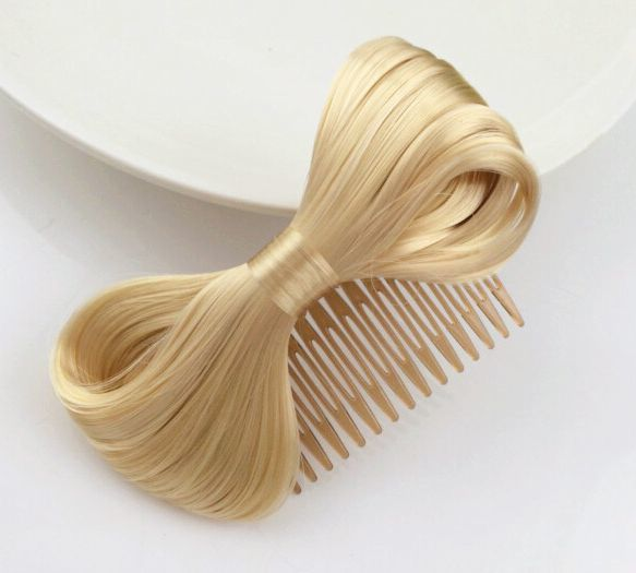 Fake-hair bow hair comb