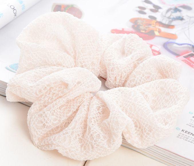 Cotton-lace-blend solid scrunchies