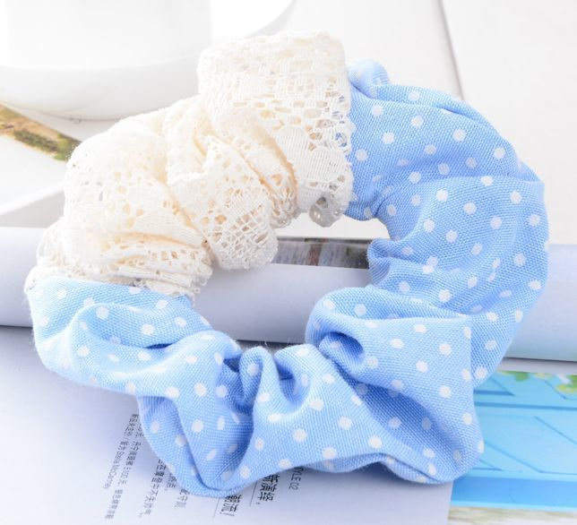 Denim lace mixed scrunchies