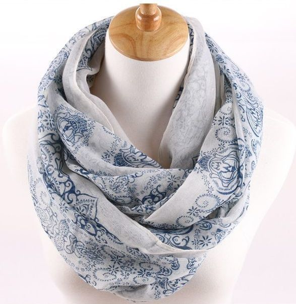 White blue totem floral infinity scarf