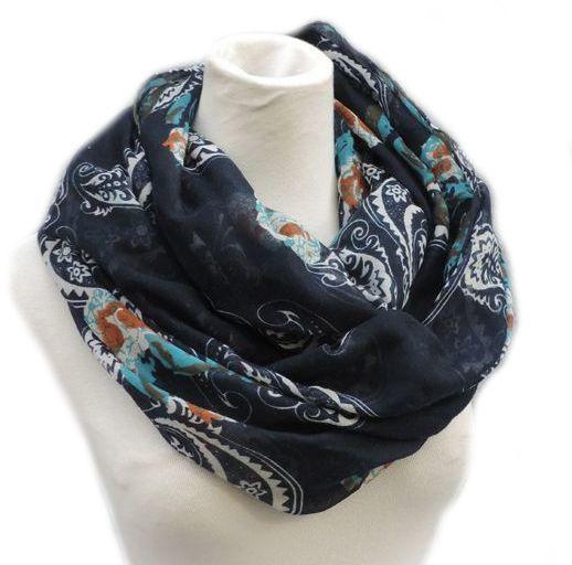Dark blue totem floral infinity scarf