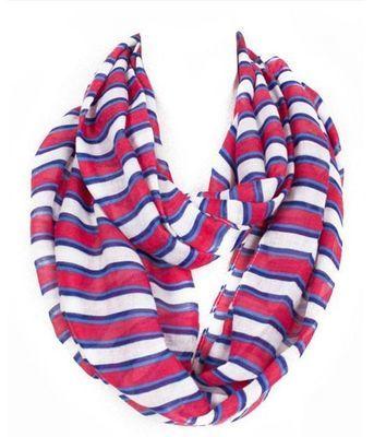Rainbow striped infinity scarf