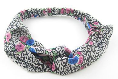 Twist front floral leopard elastic headband