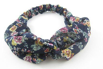 Twist front dark blue floral elastic headband