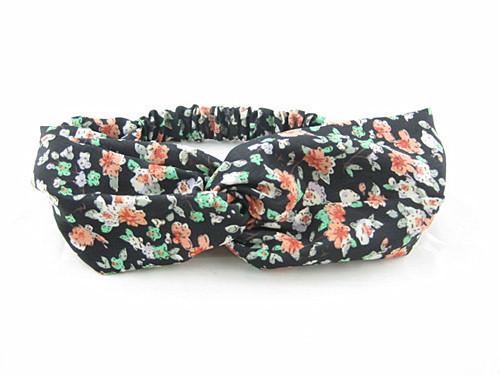 Twist front black floral elastic headband
