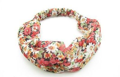 Twist front red floral turban headband